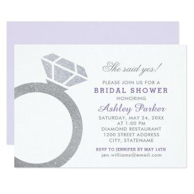 Lavender Purple Bridal Shower with Diamond Ring Invitations