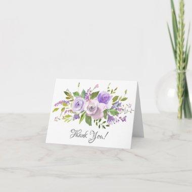 Lavender Purple Floral Bridal Shower Thank You