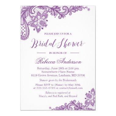 Lavender Purple Lace Elegant Floral Bridal Shower Invitations
