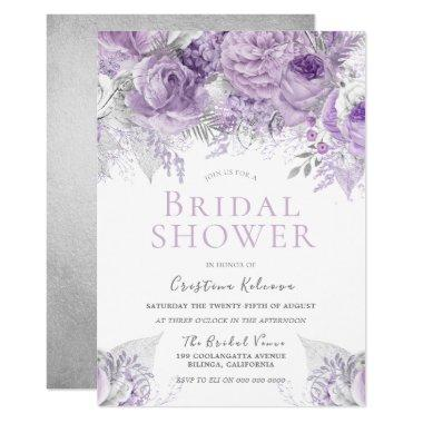 Lavender Purple Silver floral Bridal Shower Invitations
