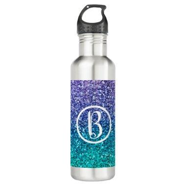 Lavender Purple & Teal Aqua Green Sparkly Party Stainless Steel Water Bottle
