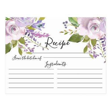 Lavender Watercolor Floral Recipe Invitations