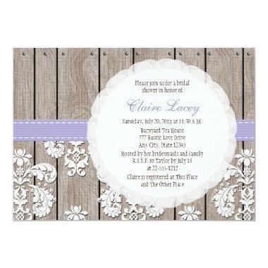 Lavender Wood Lace Rustic Bridal Shower Invitations