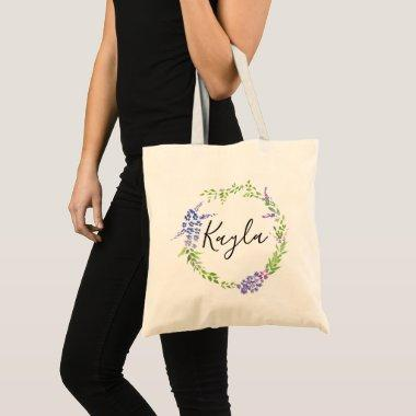 lavender wreath botanical personalized bridesmaid tote bag