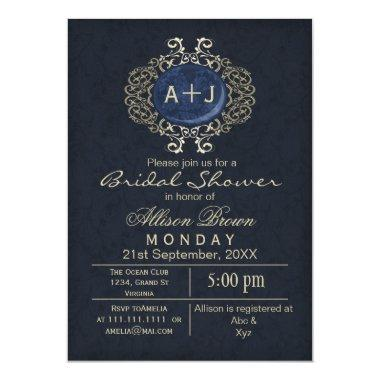 Lavish Navy Blue Gold Elegant  Invite