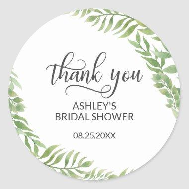 Leaves Botanical Wreath  Thank You Classic Round Sticker