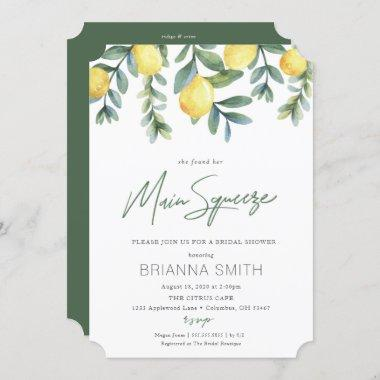 Lemon Bridal Shower Invitations main squeeze