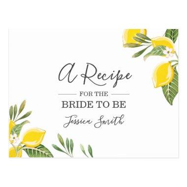 Lemon Bridal Shower Recipe Invitations Citrus Rustic Boho