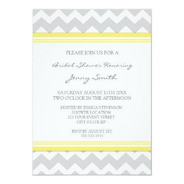 Lemon Gray Chevron  Invitation