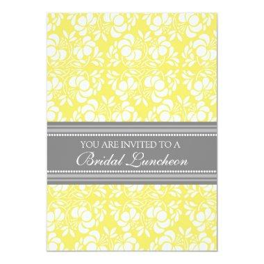 Lemon Gray Damask Bridal Lunch Invitation