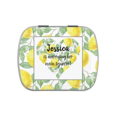 Lemon Heart Main Squeeze Themed Bridal Shower Candy Tin