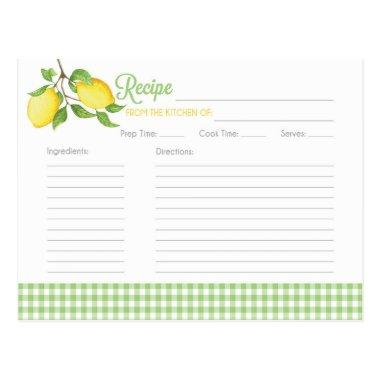 Lemon Recipe Invitations - Bridal Shower Recipe Invitations