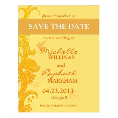 Lemon Yellow Birds Wedding Save the Date Post