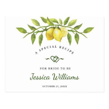 Lemons Blossom Greenery Bridal Shower Recipe Invitations