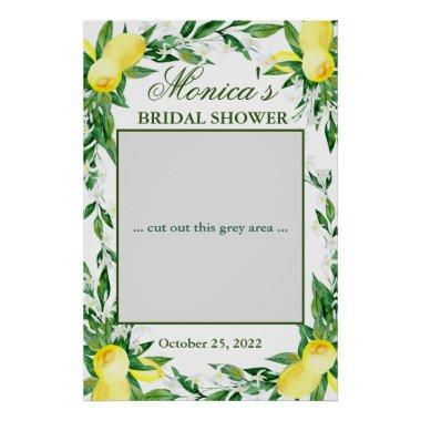 Lemons Greenery Blossom Bridal Shower Photo Prop Poster