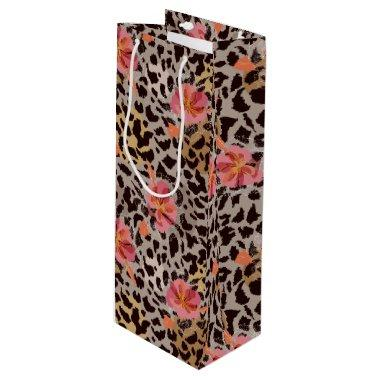 Leopard Animal Print and Tropical Pink Flowers Wine Gift Bag