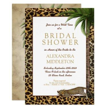 Leopard Animal Print Elegant Palm Bridal Shower Invitations