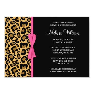 Leopard Pattern Pink Printed Ribbon Bridal Shower Invitations