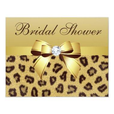 Leopard Print, Bow & Diamond Bridal Shower Invitations