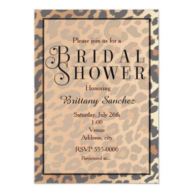 Leopard Print Cheetah Bridal Shower Invitations