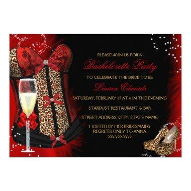 Leopard Print Corset Bachelorette Party Invitations