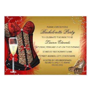 Leopard Print Corset Bachelorette Party Invite