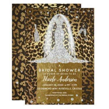 Leopard Print Diamond Wedding Dress Bridal Shower Invitations