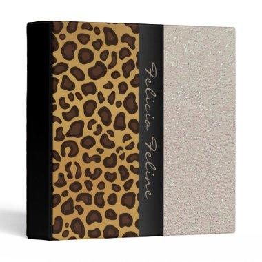 Leopard Print Glitter Personalized Glam Girly Binder