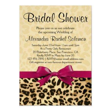 Leopard Print Hot Pink Bridal Shower Invitations