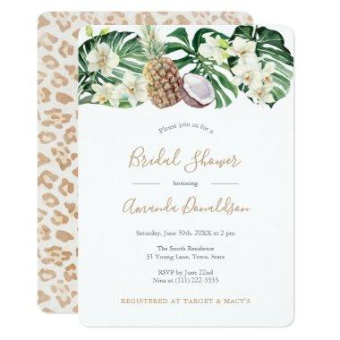 Leopard Print Jungle Leaves Bridal Shower Invitations