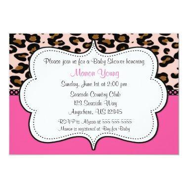 Leopard Print Pink Invitaiton