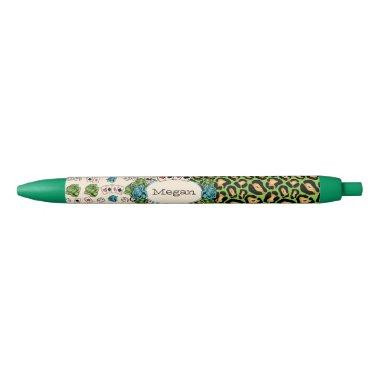 Leopard Print, Tattoo Style Black Ink Pen