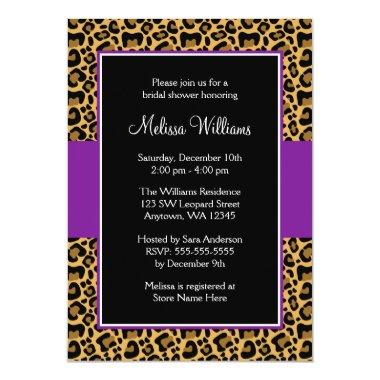 Leopard Purple Bridal Shower Invitations
