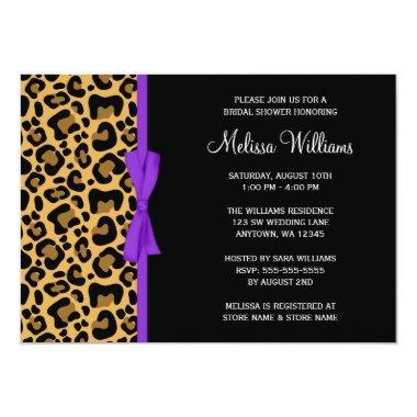 Leopard Purple Printed Ribbon Bridal Shower Invitations