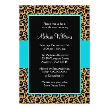 Leopard Teal Blue Bridal Shower Invitations