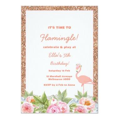 Let's Flamingle Flamingo Birthday Invitations