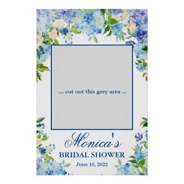 Light Blue Hydrangea Bridal Shower Photo Prop Poster