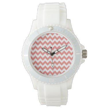 Light Coral Chevron Stripes Wrist Watch