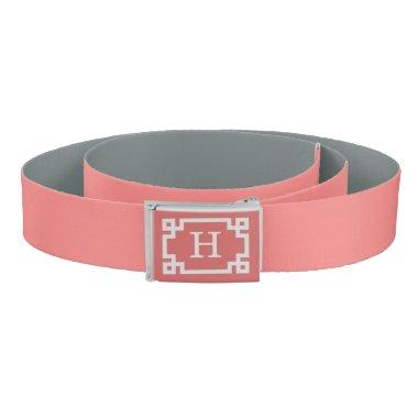 Light Coral White Greek Key #2 Frame Monogram Belt