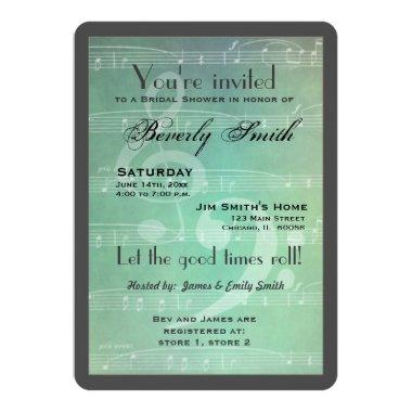 Light green Musical theme bridal shower Invitations