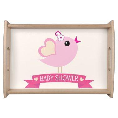 Light Pink Love Bird Baby Shower Serving Tray