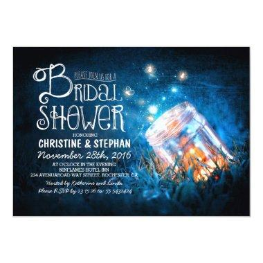 Lights mason jar & fireflies bridal shower invites