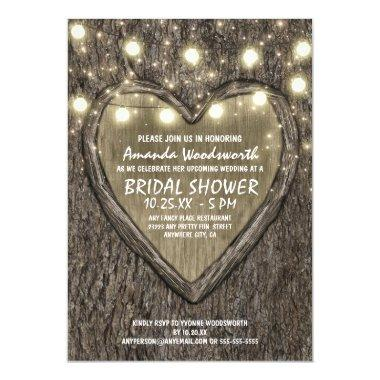 Lights  Oak Tree Bark Bridal Shower Invitations