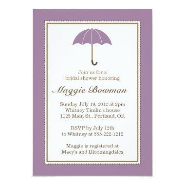 lilac purple umbrella bridal shower invitations