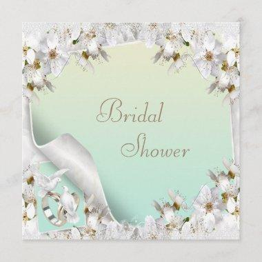 Lilies, Doves & Wedding Bands Mint Bridal Shower Invitations