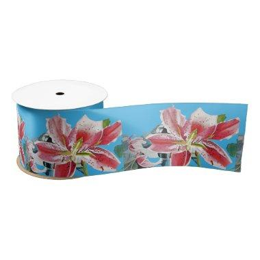 Lily Watercolor Red Oriental floral Satin Ribbon