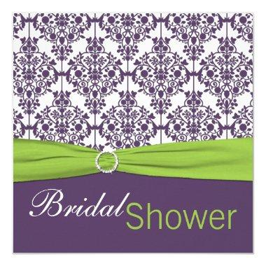 Lime and Purple Damask