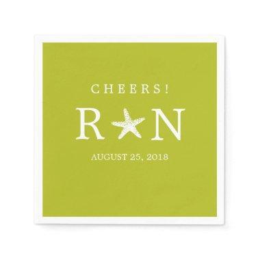 Lime Green Monogram Starfish   Wedding Paper Napkin