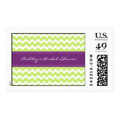Lime Plum Chevron  Wedding Stamps