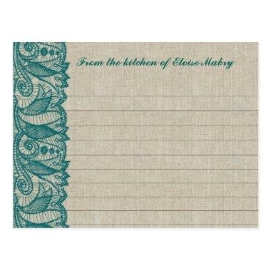 Linen and Teal Blue Lace Personalized Recipe